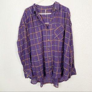Free People Purple Plaid Metallic Button Shirt Med